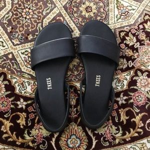 Tkees black sling back flat